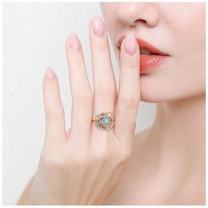 Evil Eye Adjustable Ring Turquoise
